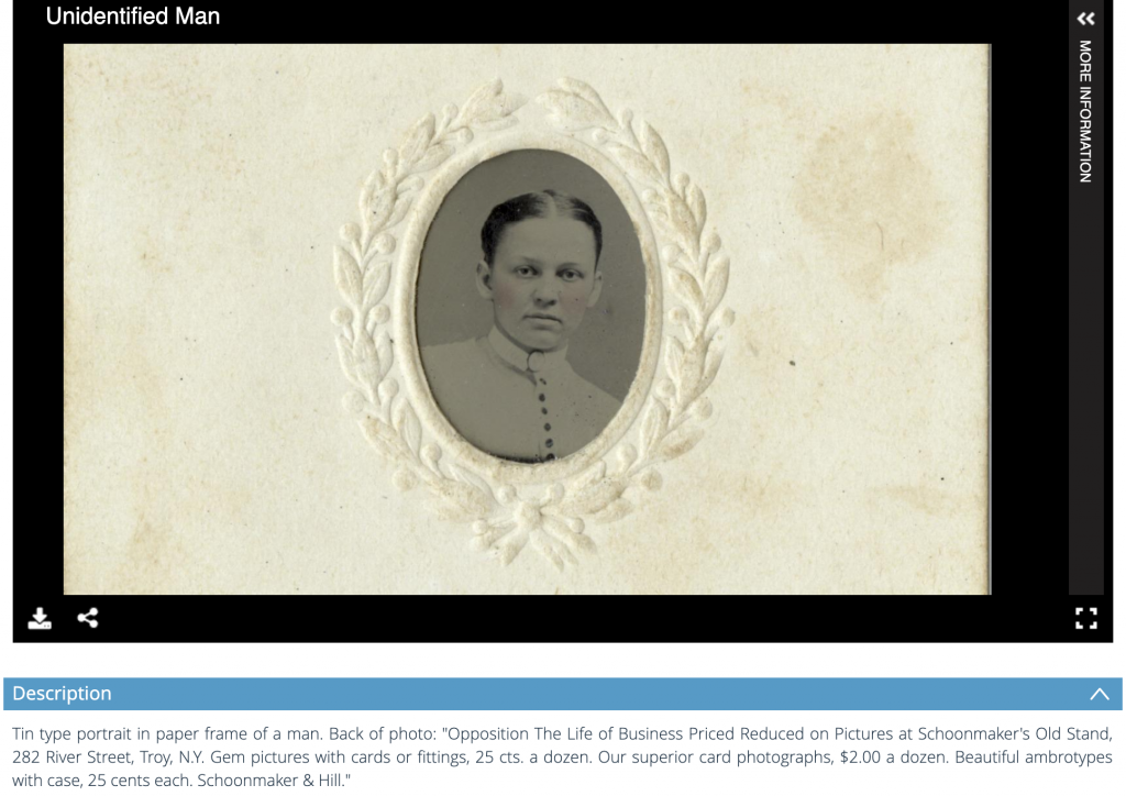 "Image of a screenshot of a tin type photo in paper a paper frame of an unidentified adult. The description included partially reads ""Tin type portrait in paper frame of a man."""