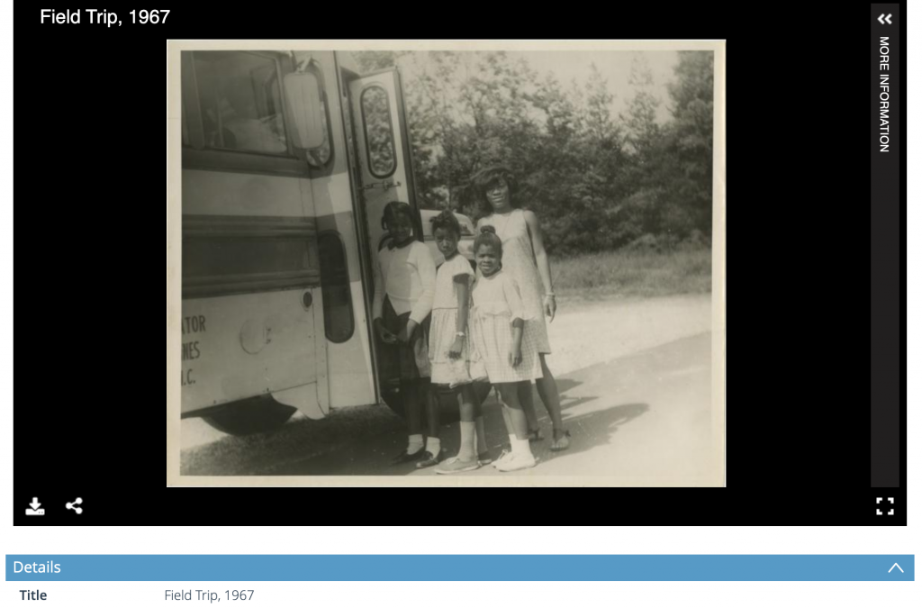 "Image of a screenshot of four children, or three children and one adult, standing outside next to the open door of a bus. The title reads ""Field Trip, 1967""."
