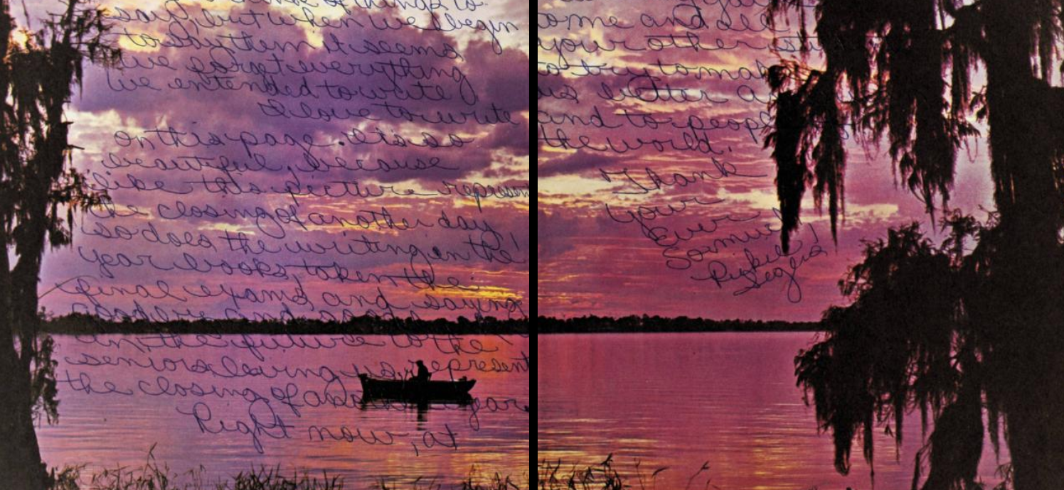 Inside front cover of the 1966 East Davidson High School yearbook The Claw. This image shows a photo of the purple and pink sunset sky over a body of water with a single boat. Autographs cover the pages.