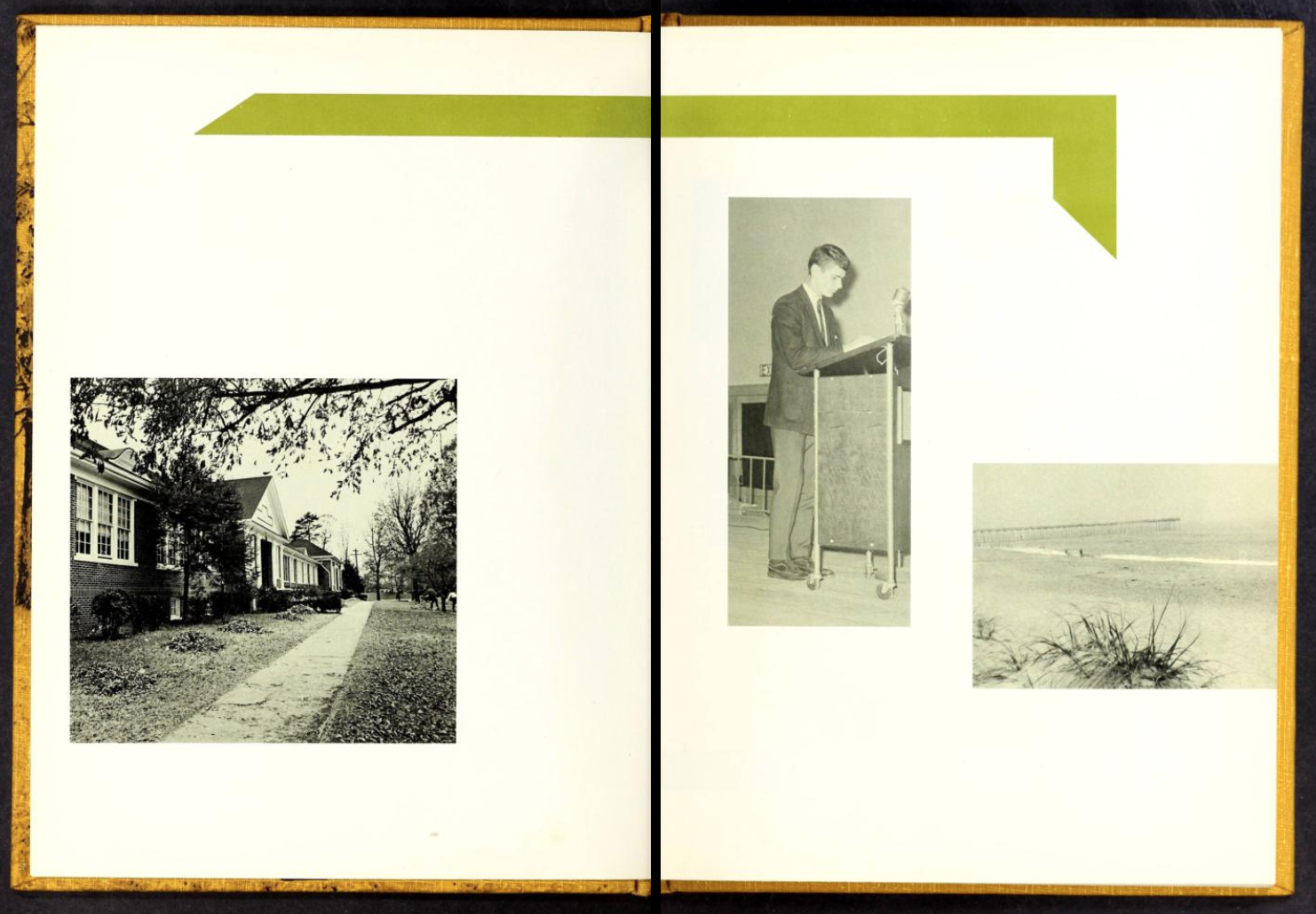Two-page spread in the 1968 Granite Falls High School yearbook, The Granite Boulder. These pages show three photos artfully arranged around the two pages of life in Granite Falls.