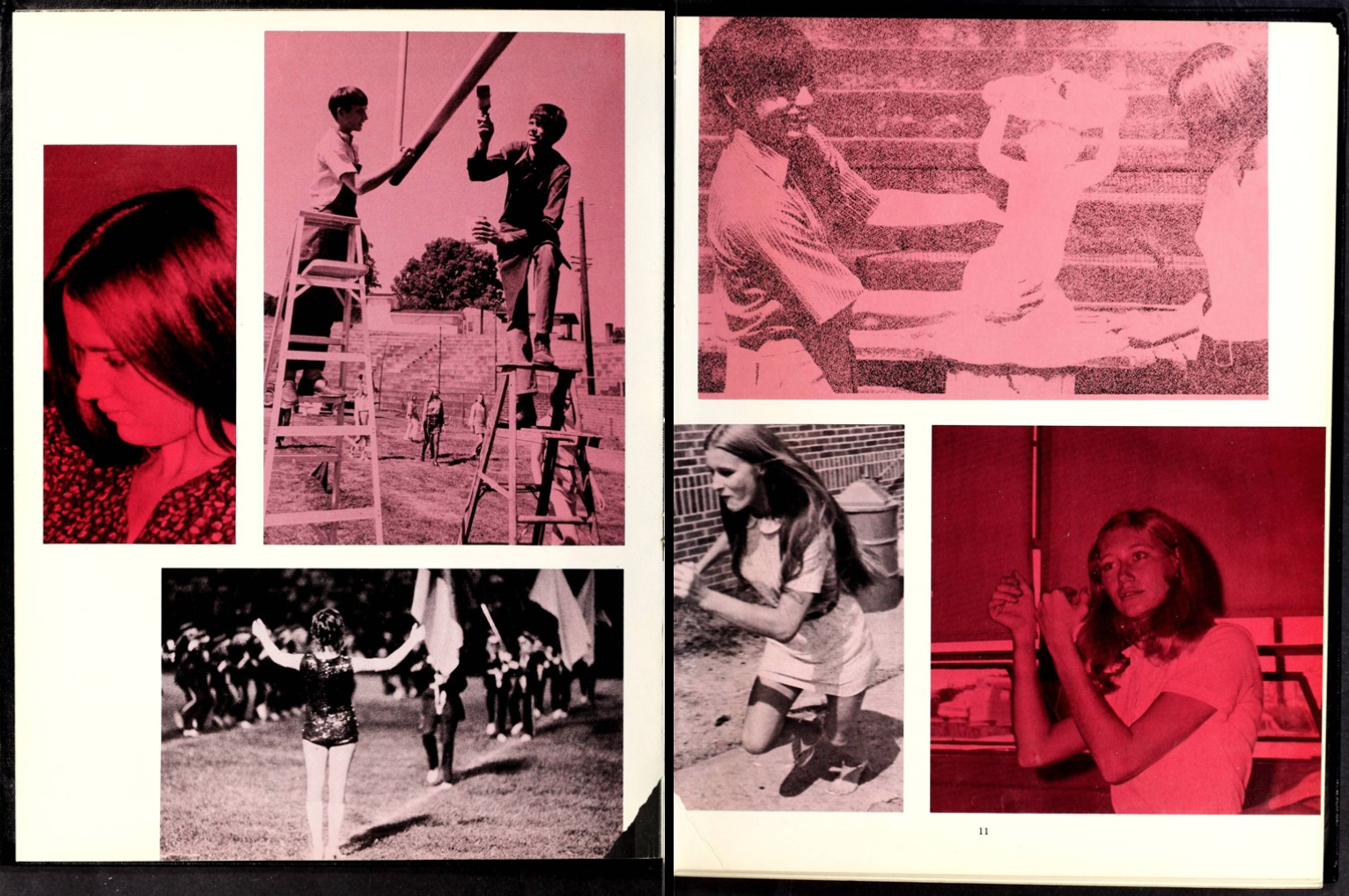 Two-page spread from the 1972 Granite Falls High School yearbook, The Granite Boulder. These two pages show candid photos taken during various events. All photos are in tones of pink.