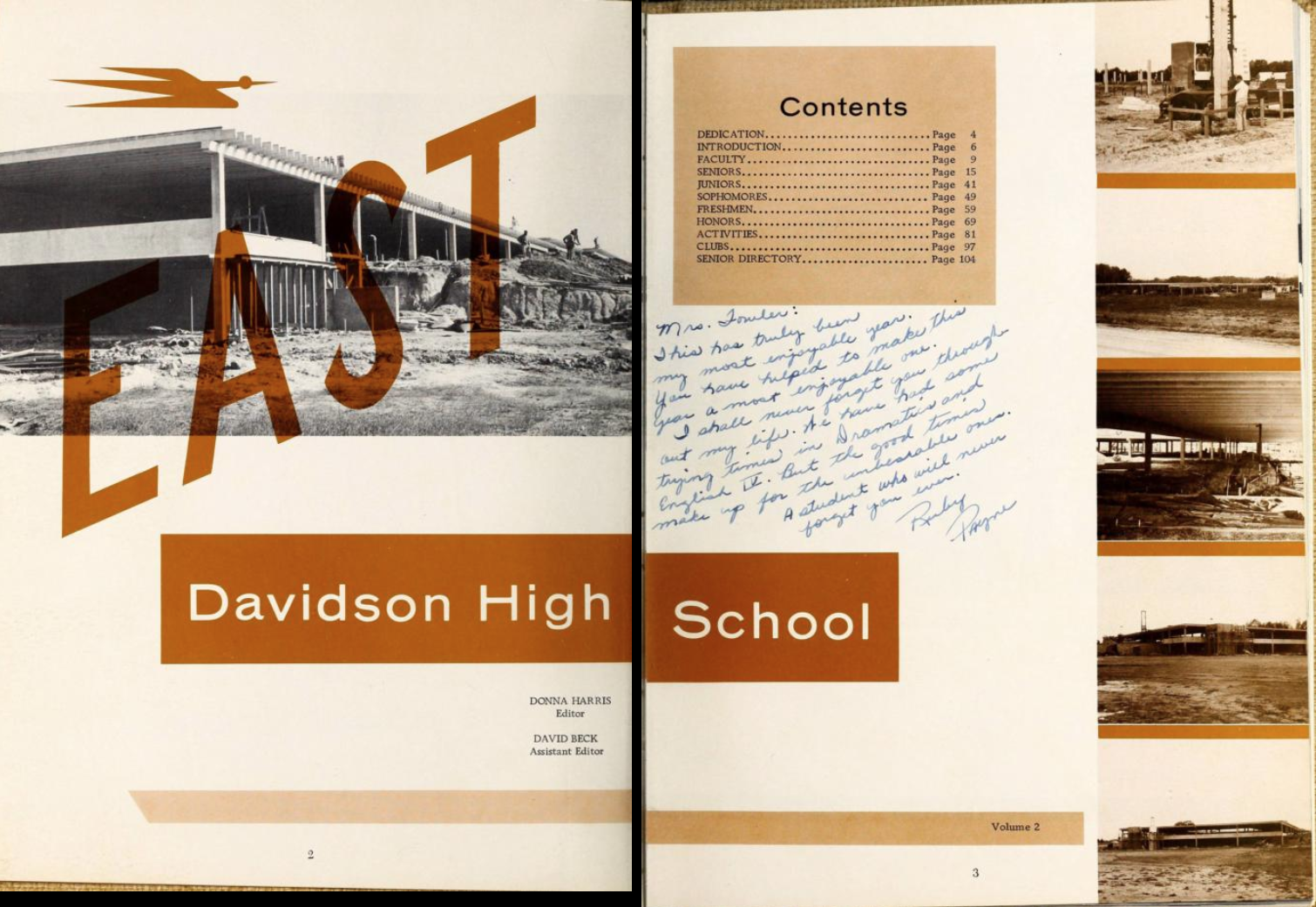 Two-page spread from the 1963 East Davidson High School yearbook The Claw. These pages show the contents of the yearbook as well as artfully arranged photos of the construction of the new section of school. The page is colored in monochrome orange.