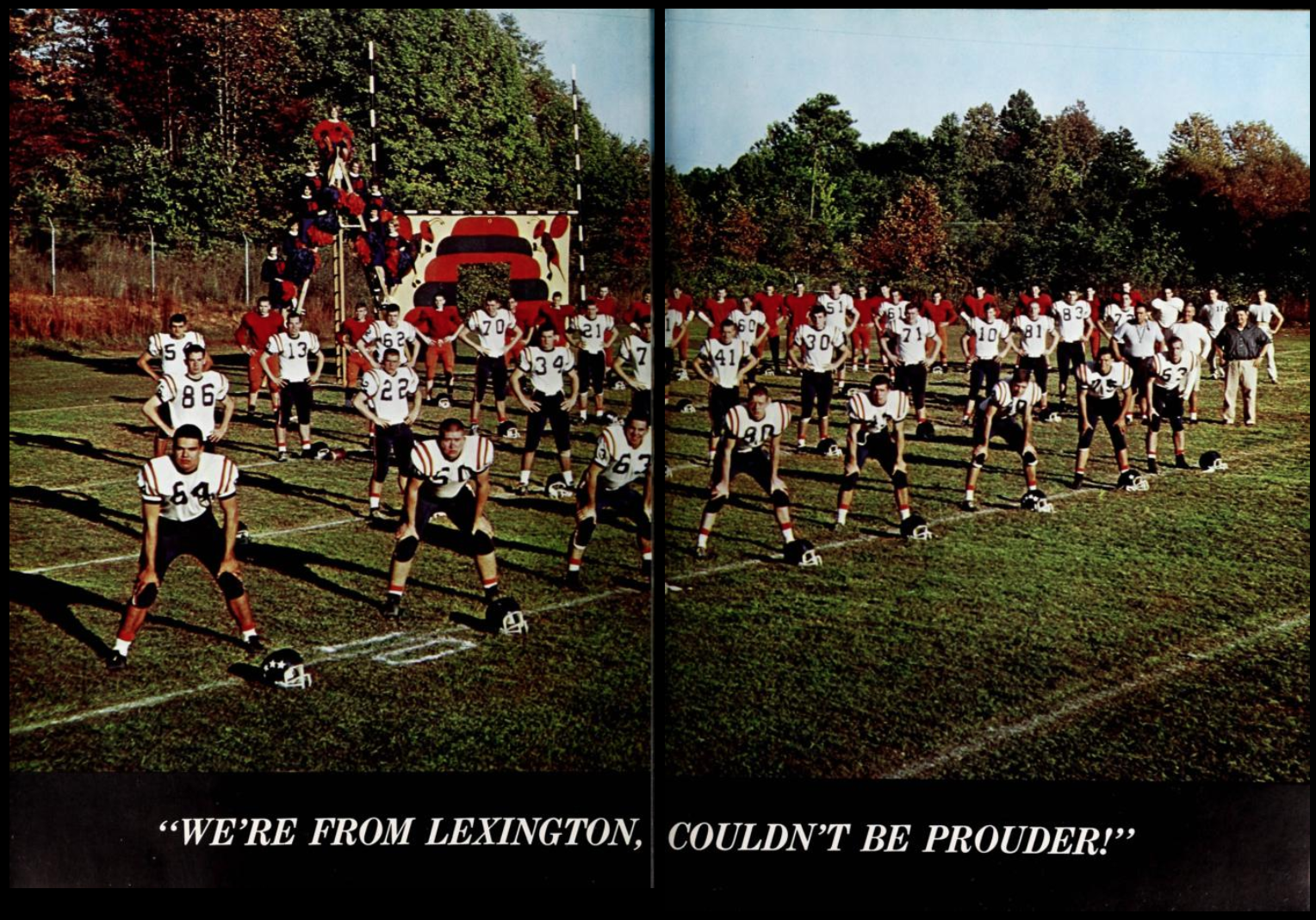 "Two-page spread from the 1964 Lexington Senior High School yearbook The Lexicon. A single color photo of the football team and cheerleaders takes up the two pages; the text beneath the photo reads ""We're from Lexington, couldn't be prouder!""."