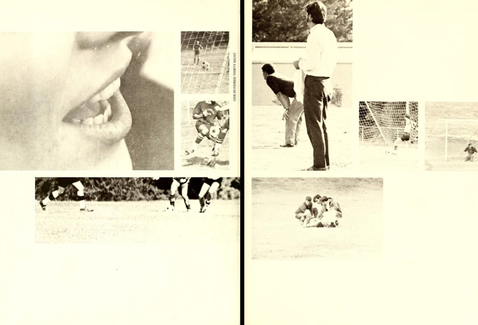 Two-page spread from the 1971 Methodist University yearbook Carillon. These pages show photos taken during a soccer game. One photo is a close up of a mouth cheering and another has the view of the soccer ball about to be kicked angled from the back of the goal netting.