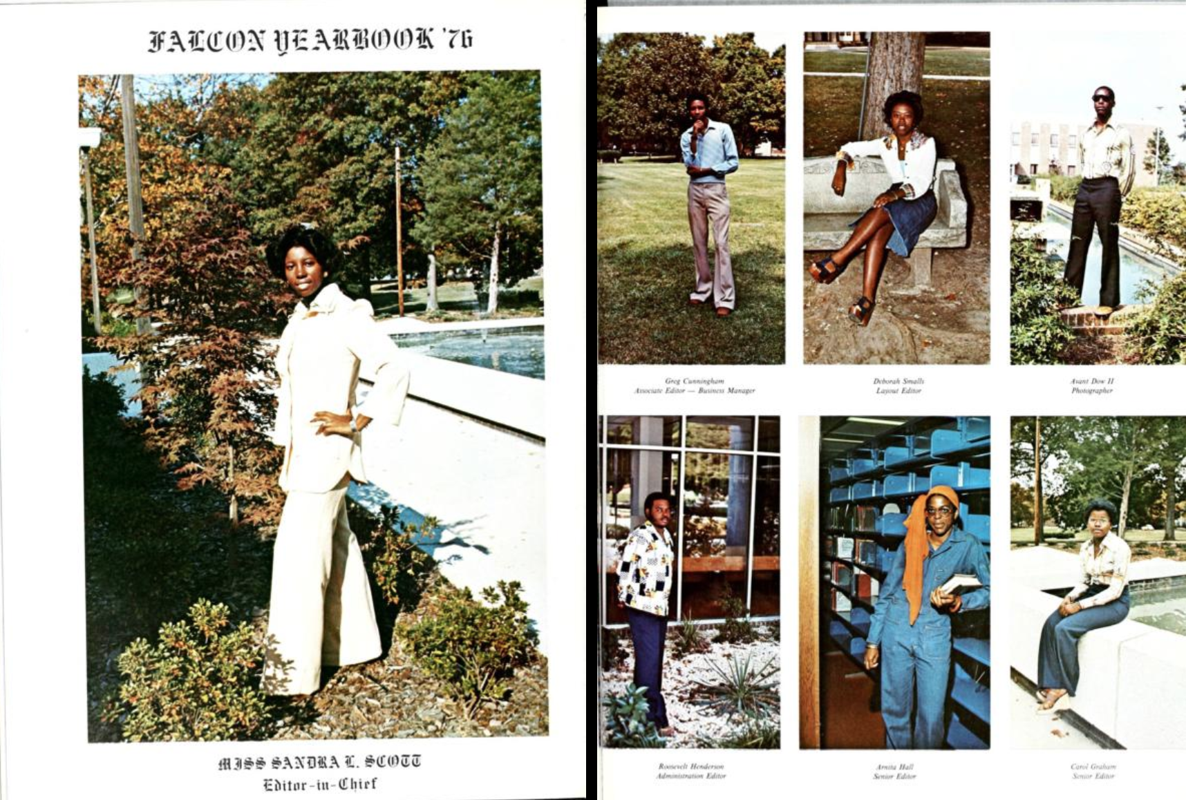 Two-page spread from the 1976 Saint Augustine's University yearbook, The Falcon. The left page features a color photo of the yearbook editor-in-chief Sandra C. Scott. The right page has colored photos of the rest of the yearbook staff; all are posed in various styles and locations.