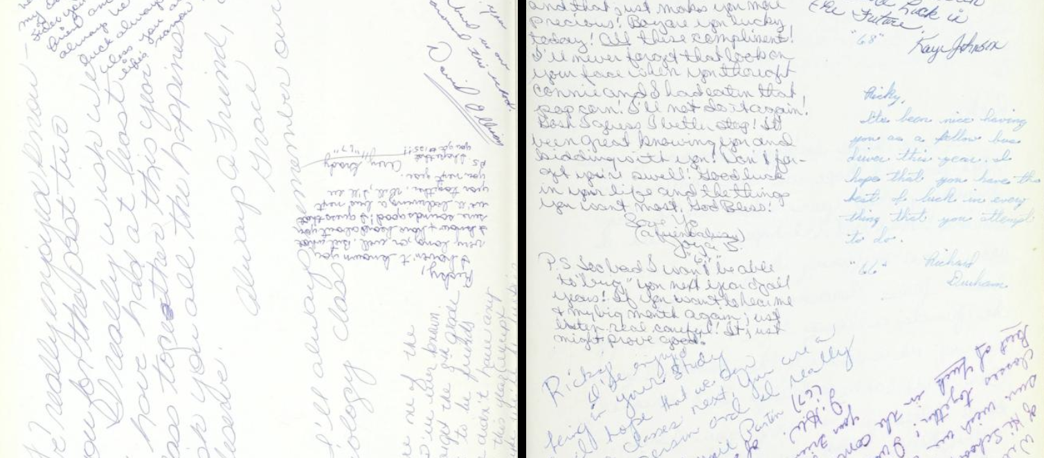 Back cover pages of the 1966 Goldsboro High School yearbook, Gohisca, featuring autographs.