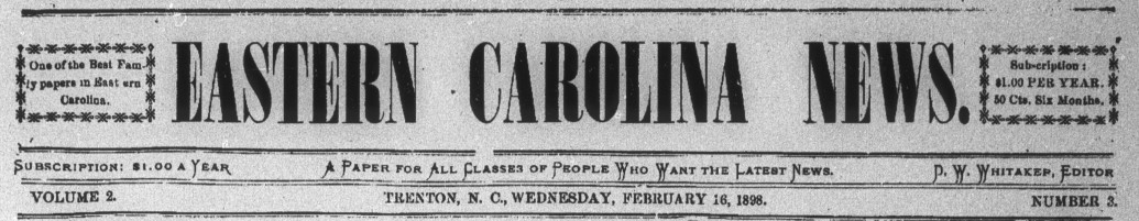 Clipping from the front page of the masthead for Eastern Carolina News.