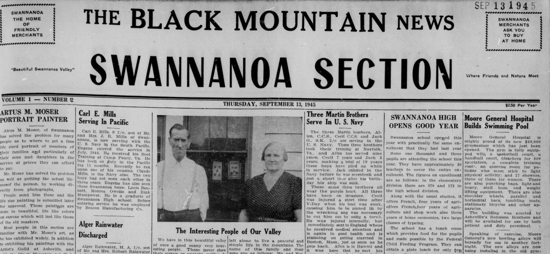 Clipping of the Swannanoa Section of the Black Mountain Newspaper, highlighting how the section took up the entire page.