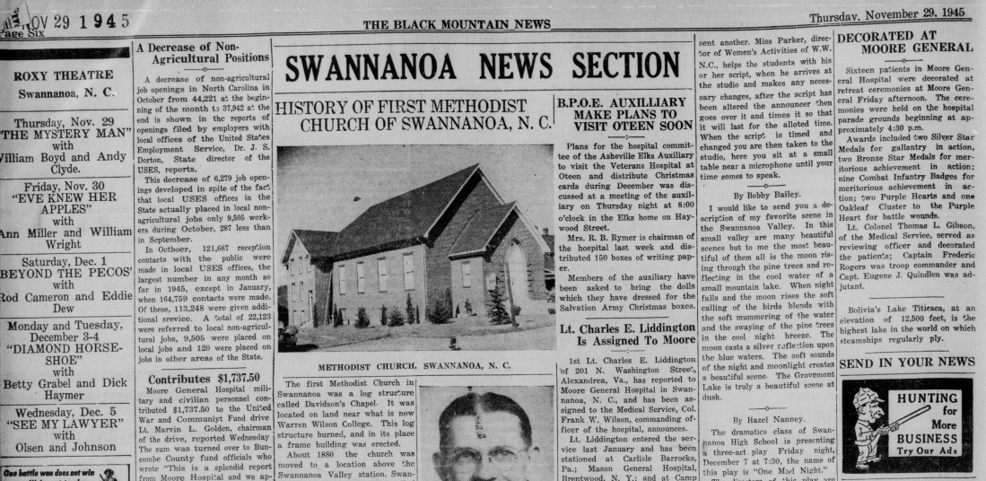 Clipping of the Swannanoa News Section of The Black Mountain News, highlighting how the section has visibly gotten smaller and only takes up a portion of the newspaper.