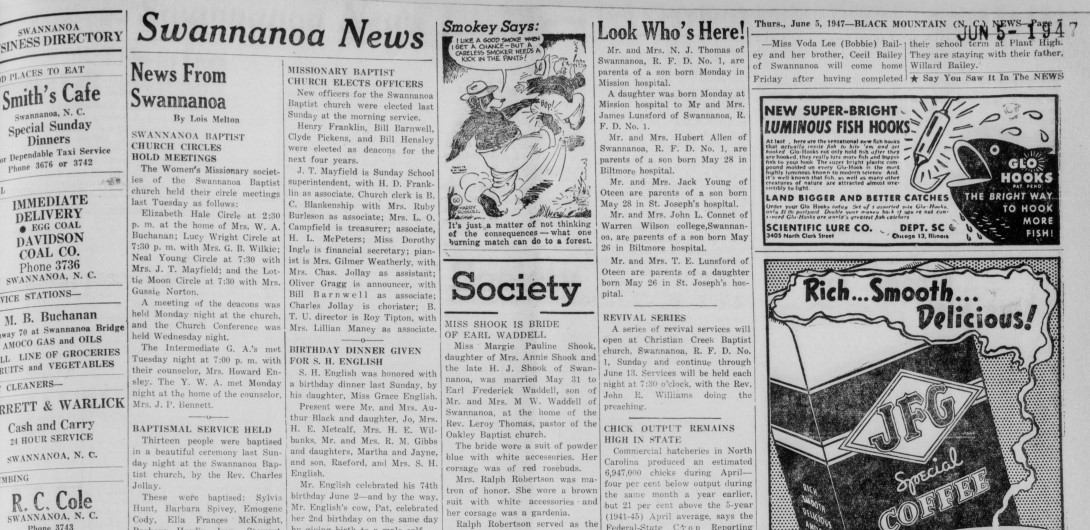 Clipping of the Swannanoa News section from The Black Mountain News, highlighting the small section of space it now occupies, as opposed to when the newspaper began.