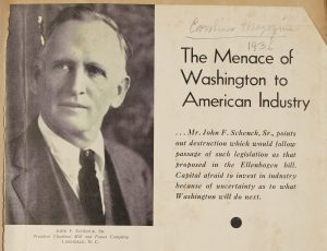 Black and white head shot of John F. Schenck Sr. and article title and header
