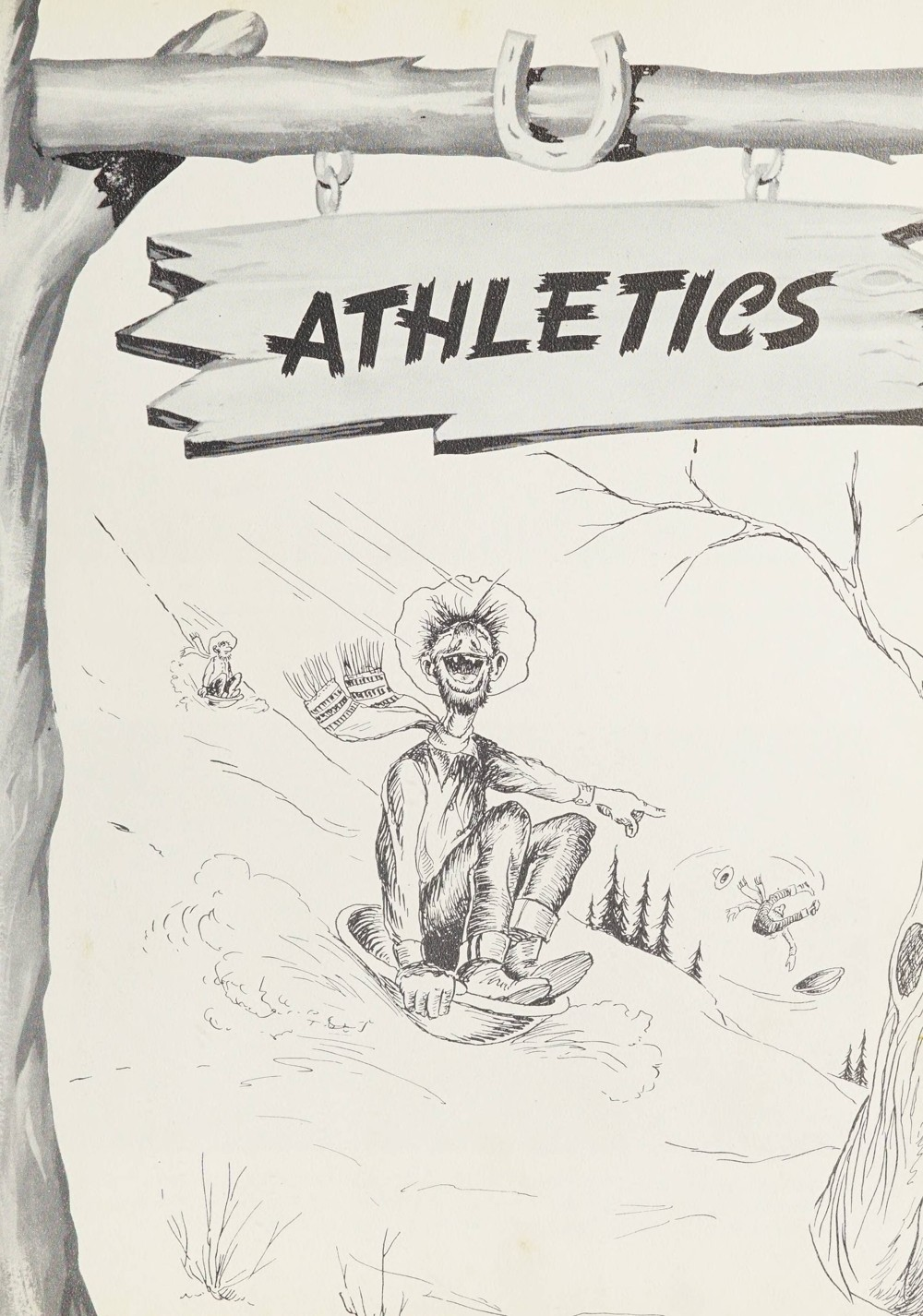 Athletics page. Student sledding while pointing to another student who has fallen off their sled.