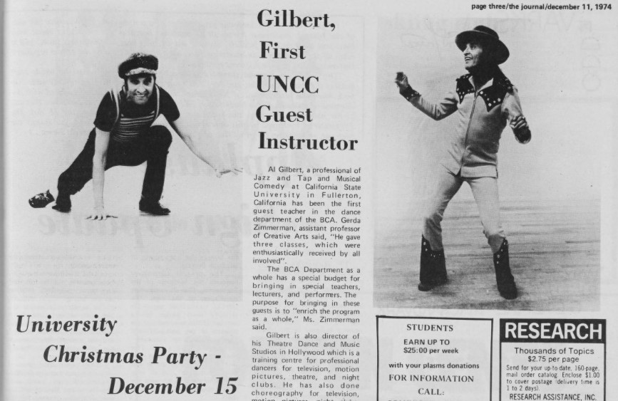 """Snippet of an article in The Journal titled """"Gilbert, First UNCC Guest Instructor"""". Two images of Gilbert dressed in various costumes, posing in jazz stances, accompany the article."""
