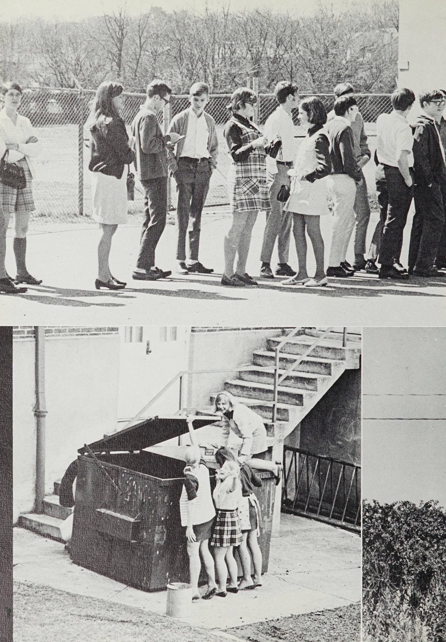 Two pictures. First pictures shows students standing in a line. The second picture shows three students lifting the lid to a dumpster while another student looks like they are about to go into the dumpster.