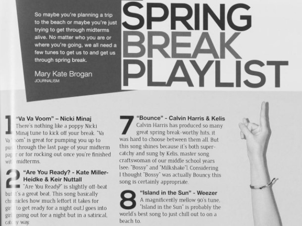 """Snippet of the Spring Break Playlist featured in the Edge. The first song is """"Va Va Voom"""" by Nicki Minaj, #2 is """"Are You Ready?"""" by Kate Miller-Heidke & Keir Nuttall, #7 is """"Bounce"""" by Calvin Harris, and #8 is """"Island in the Sun"""" by Weezer."""