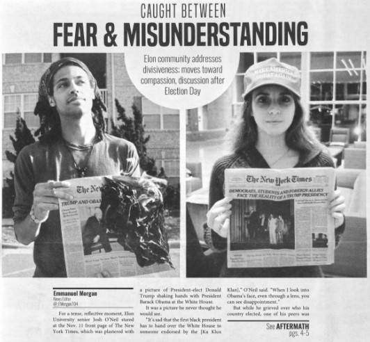 """Snippet of a cover story that shows two students, one burning a newpaper announcing Donald Trump as the 45th president of the U.S. and another student with a Make America Great Again hat holding the newspaper. The story is titled """"Caught Between Fear & Misunderstanding"""""""