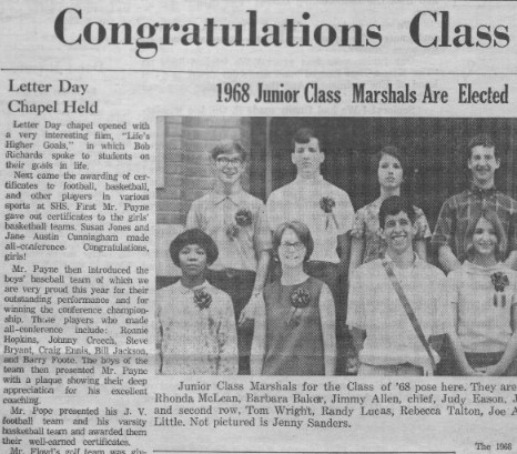 Snippet of Smithfield High Times newspaper. It highlights the updated layout which looks similar to a traditional newspaper. The snippet shows half of an image of the 1968 Junior Class Marshals and part of the text of the accompanying article.