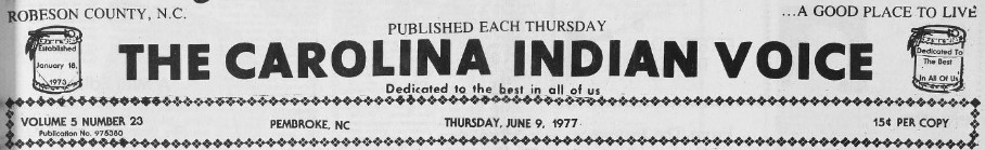 Masthead for The Carolina Indian Voice.
