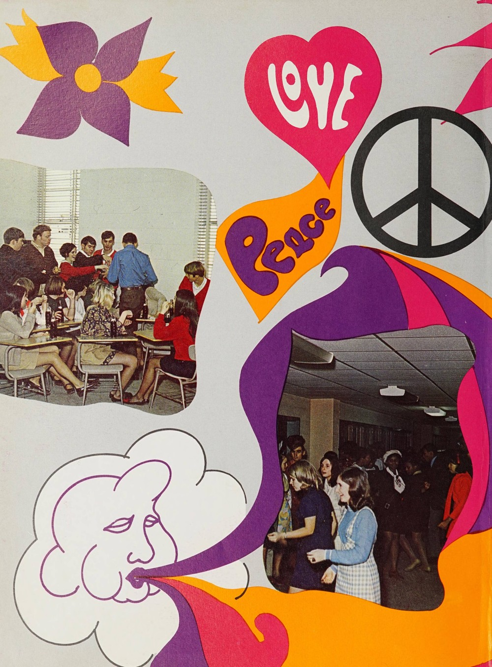 "There are two pictures on the page both with students around the high school. There is a peace symbol and drawing of a cloud blowing air. Words on the page read ""Peace"" and ""Love."""