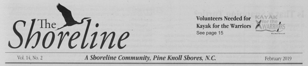 "Masthead for The Shoreline. On the left is the text ""The Shoreline"" and a black shadow of an Ibis-type bird flying over ""shoreline"". The right side of the clipping states ""Volunteers needed for kayak for the warriors""."