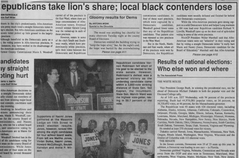 "Clipping of front page articles from the Winston-Salem Chronicle. Article titles include ""Republicans Take Lion's Share; Local Black Contenders Lose"", ""Results of National Elections: Who Else Won and Where"", and ""Candidates Say Straight Voting Hurt"". There are two photos of supporters for senator candidates Vernon Robinson and Naomi Jones."