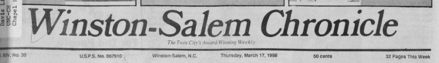 Masthead for the Winston-Salem Chronicle