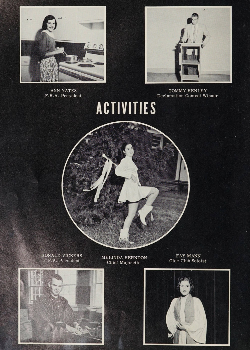 Activity page showing the F.H.A. President, Declamation Contest Winner, Chief Majorette, Glee Club Soloist, and F.F.A. President.