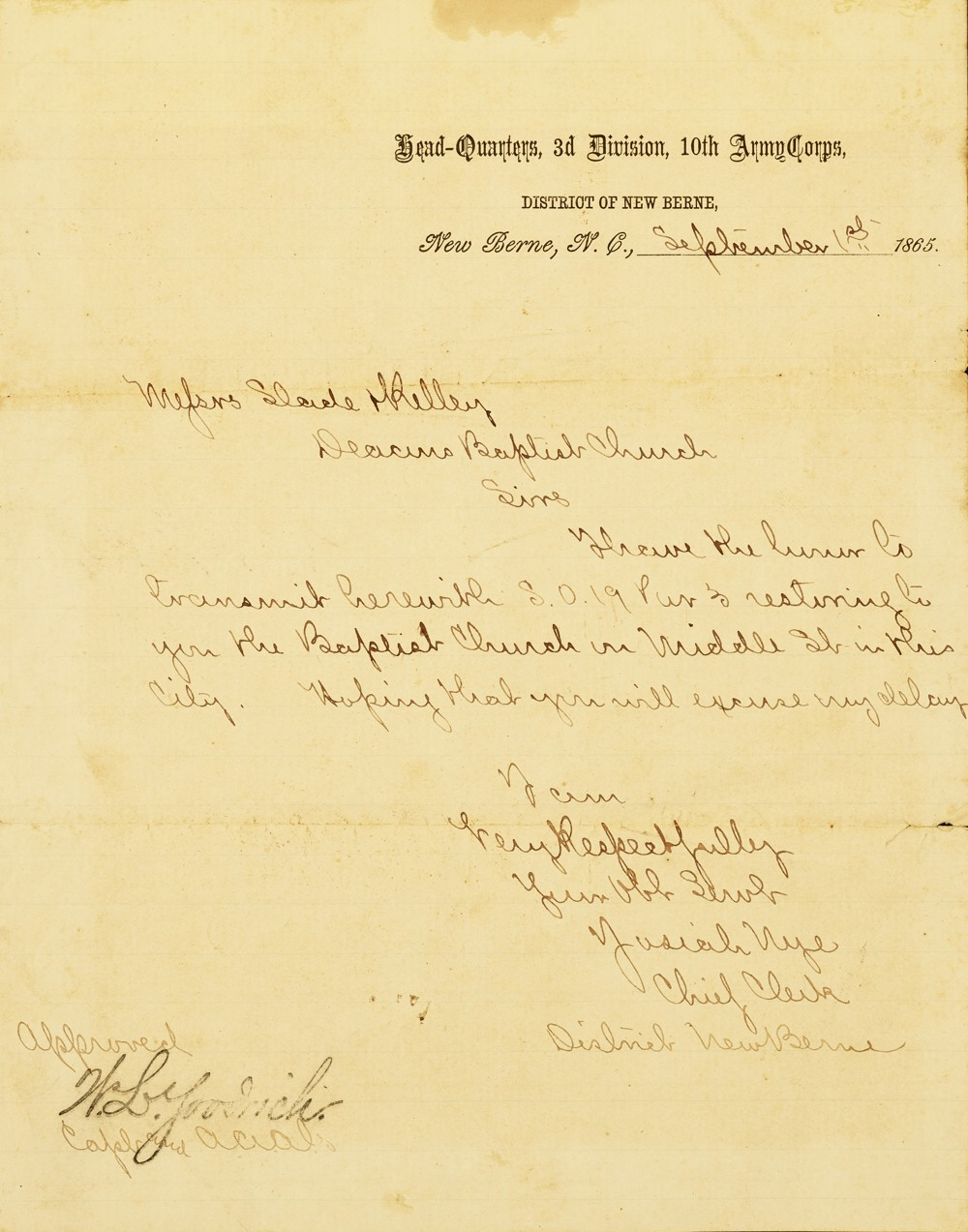 A letter sent from the headquarters of the 3rd Division, 10th Army Corps returning the church to the Deacons of First Baptist Church.