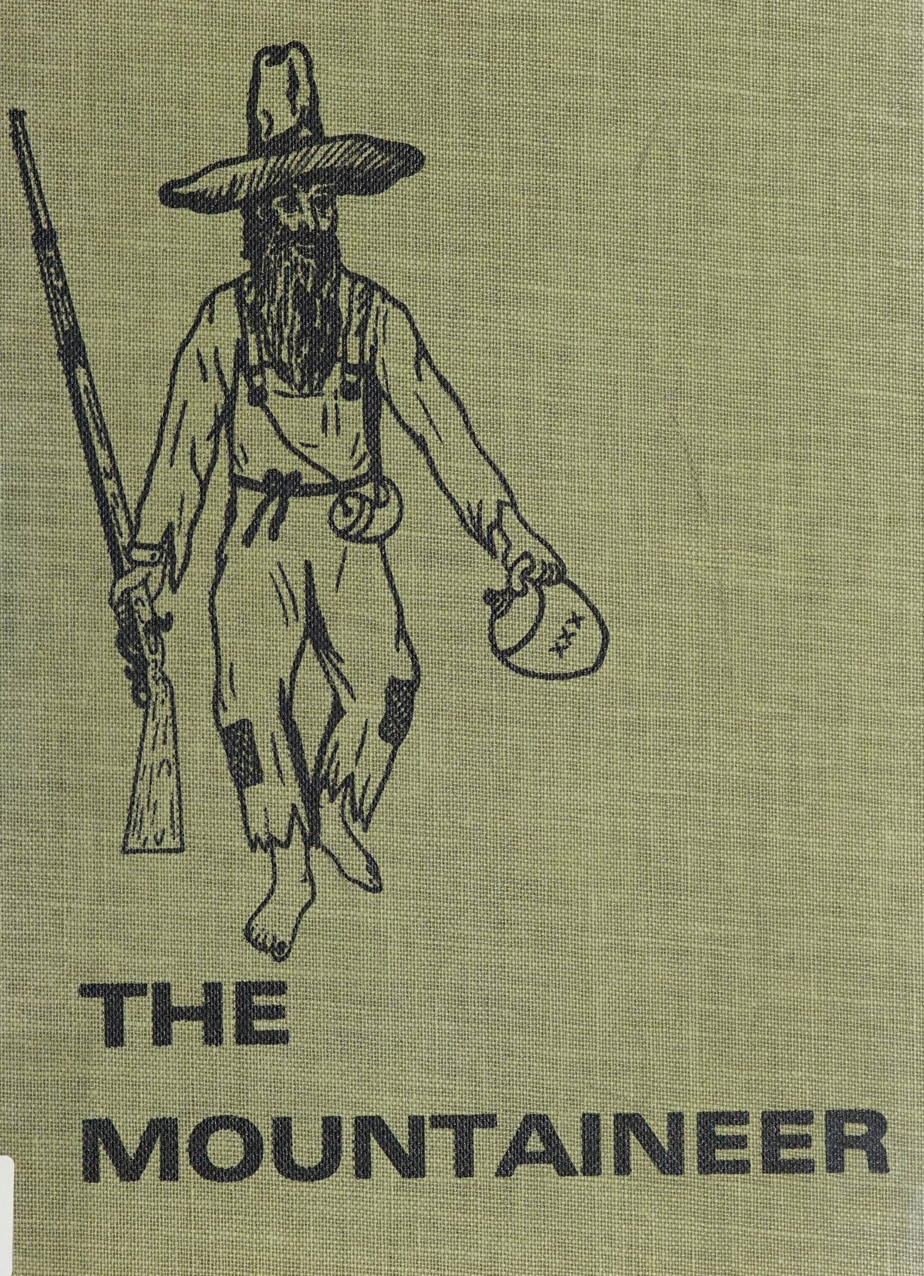 "The Mountaineer 1962 cover. A man holding a gun and a jug with ""XXX"" on it looking to be walking around."