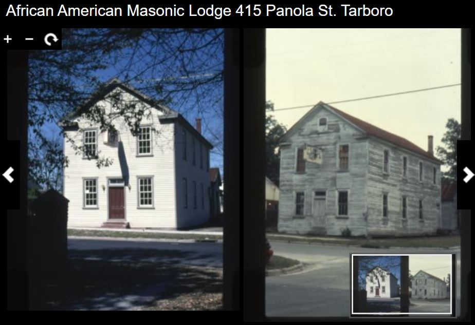 Two color photographs of the same building, a white clapboard two story structure
