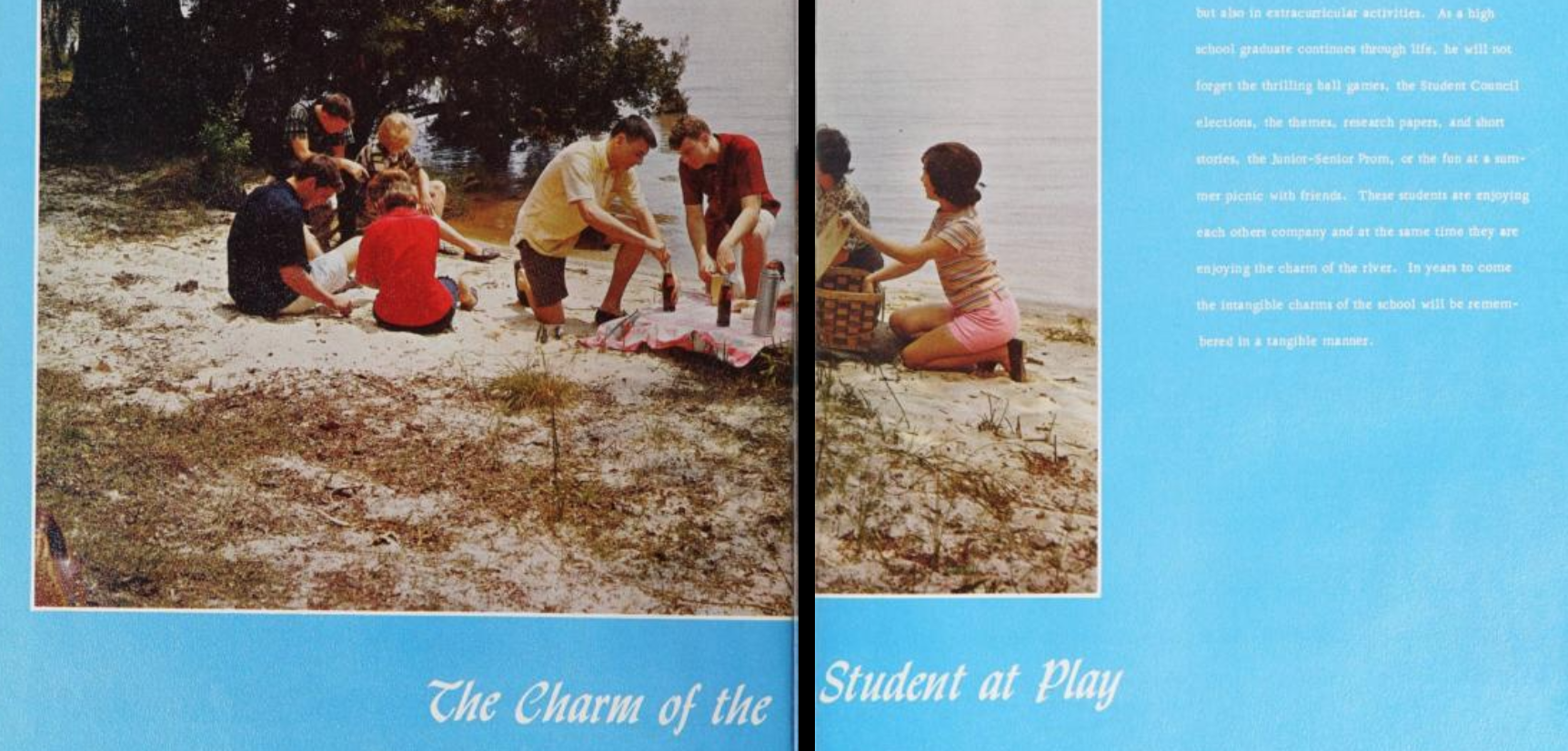 Snippet of a two-page spread in a yearbook. It features a full color photo of students on a beach against a bright blue background. Underneath the photo, in white text, it reads: The charm of the student at play.
