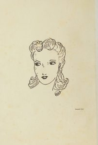 """Hand-drawn looking face of a woman in 1940s hair and makeup. Text """"Amazed Girl"""" below the face to the right."""