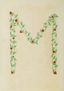 """Letter """"M"""" created out of flowers"""