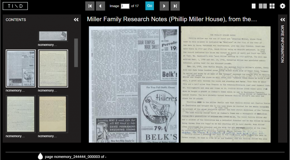 screenshot in TIND of a newspaper clipping and a manuscript page, with thumbnails of other items on the left