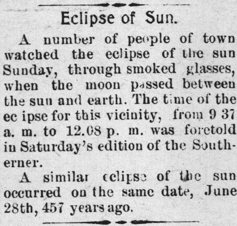 Newspaper article discussing an eclipse of the sun.