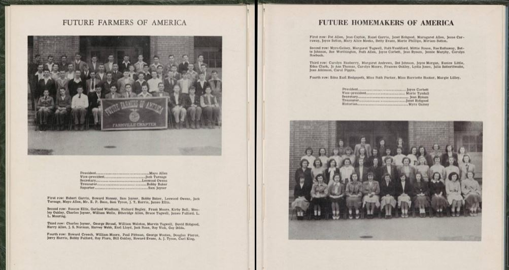 yearbook spread showing two large group portraits