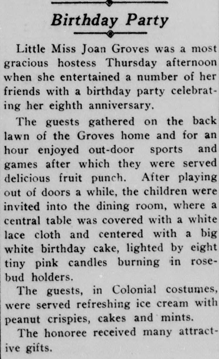 Excerpt from the June 17, 1932 issue of the newspaper detailing the 80th birthday of a town resident.