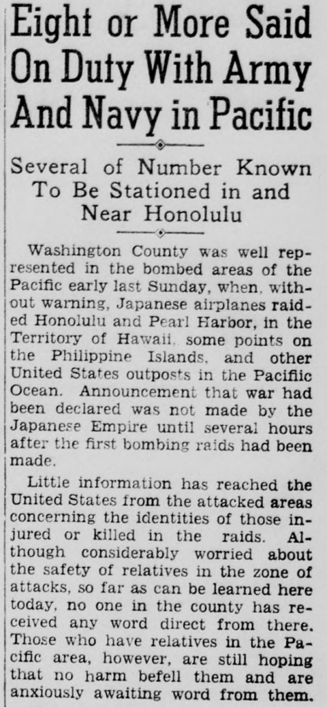 Excerpt from the paper's December 11, 1941 issue discussing the bombing of Pearl Harbor.