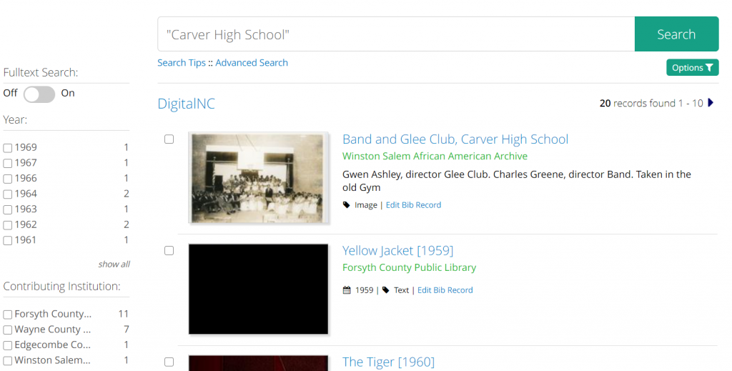 Search results screenshot for the term Carver High School