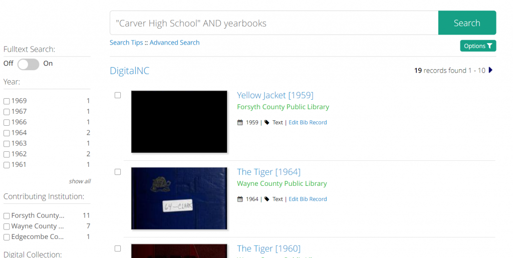 Search results screenshot for the search Carver High School AND yearbooks