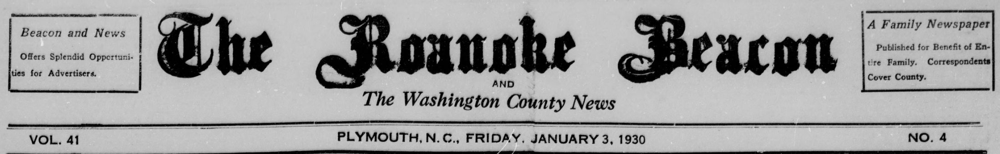 Title heading for the Roanoke Beacon January 3, 1930 issue.