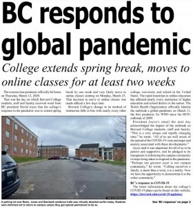 """Article from the front page of The Clarion titled """"BC Responds to Global Pandemic""""."""