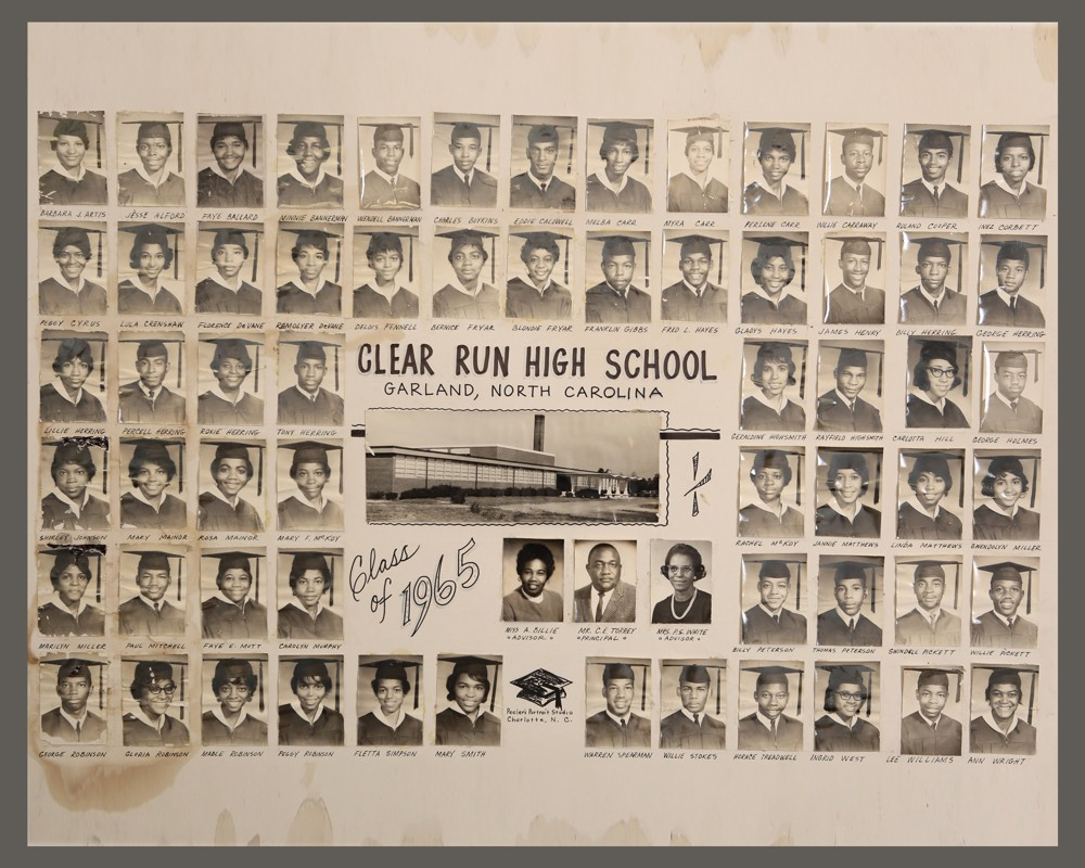 Clear Run High School. Garland, NC. Class of 1965. Photos of students in their graduation caps and gowns. Included also are the pictures of two advisors and the principle.
