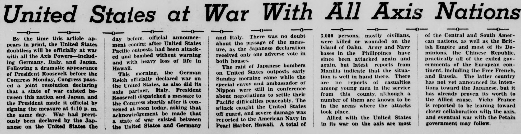 Excerpt from the December 11, 1941 issue of the paper discussing America's entrance into World War II.