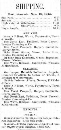 Clipping of the Shipping section of The Wilmington Sun. Subheadings include Arrived, Cleared, and Exports.
