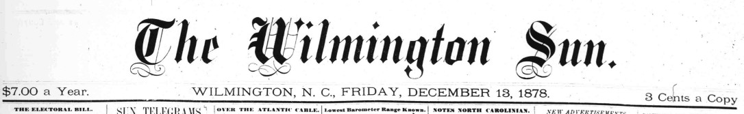 Masthead for The Wilmington Sun.