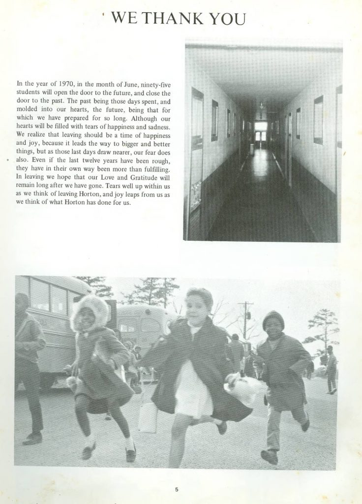 Page of a yearbook, featuring a picture of a hallway and a picture of students running