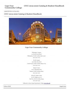 cover of the 2019-2020 Cape Fear Community College course catalog featuring a picture of a building lit up at night