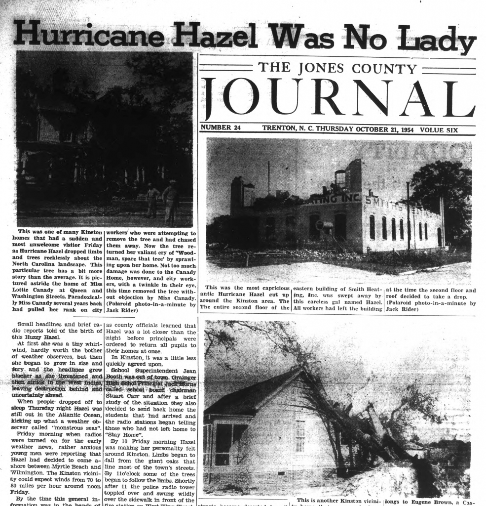 front page of the October 21, 1954 issue of the Jones Journal with headline Hurricane Hazel was No Lady
