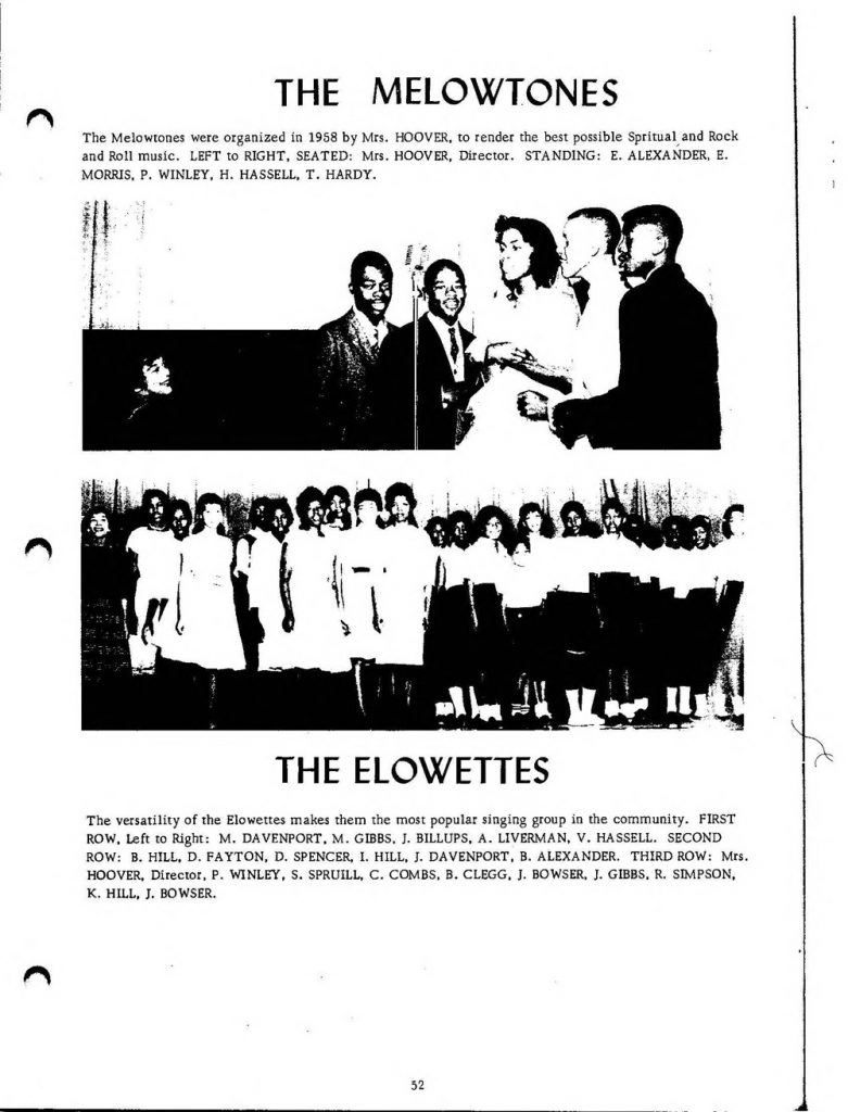 Photographs of Tyrrell High School's music groups, the Melowtones and Elowettes. Included with the photos are the names of the group members.